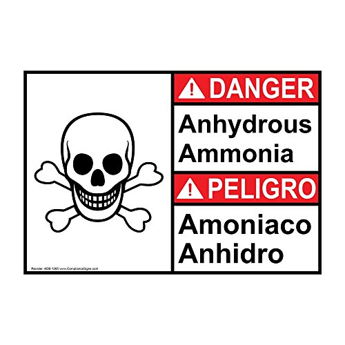 ComplianceSigns Vinyl ANSI DANGER Label, 10 x 7 in. with Ammonia Info in English + Spanish, White