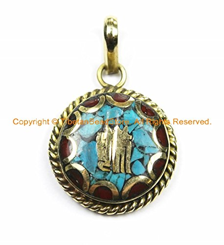 Tibetan Kalachakra Mantra Pendant with Brass, Turquoise & Coral Inlays - Amulet Charms- Nepalese Tibetan Pendants- 1 PENDANT- WM6128-1