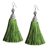 Fan Tassel Earrings Peridot Long Statement Earrings for Women Girls Boho Earrings Dangling Jewelry with Silk Thread