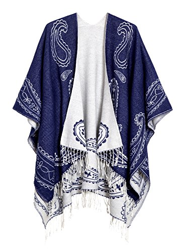 (Urban CoCo Women's Printed Tassel Open front Poncho Cape Cardigan Wrap Shawl (Series 6-Royal Blue) )