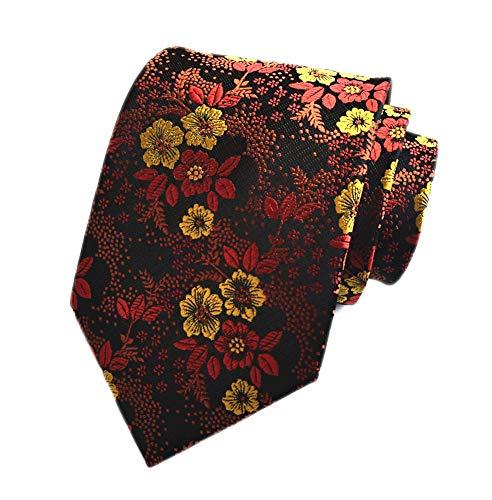 (Secdtie Men's Brown Yellow Tie Floral Business Woven Paisley Party Necktie B06)