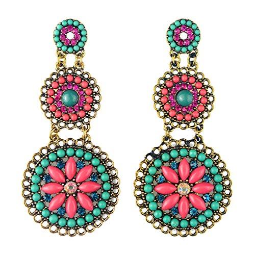 [Superhai Bohemian Exotic Vintage Blue Plus Rose Earrings] (Vintage Costume Jewelry Images)