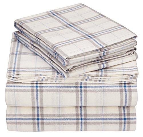 Pinzon 160 Gram Plaid Flannel Sheet Set - Cal King, Cream/Blue Stripe Plaid - PZ-PLFLAN-CB-CKG (Best Cal King Flannel Sheets)