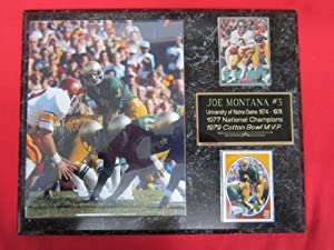 Joe Montana Notre Dame 2 Card Collector Plaque w/8x10 VINTAGE photo