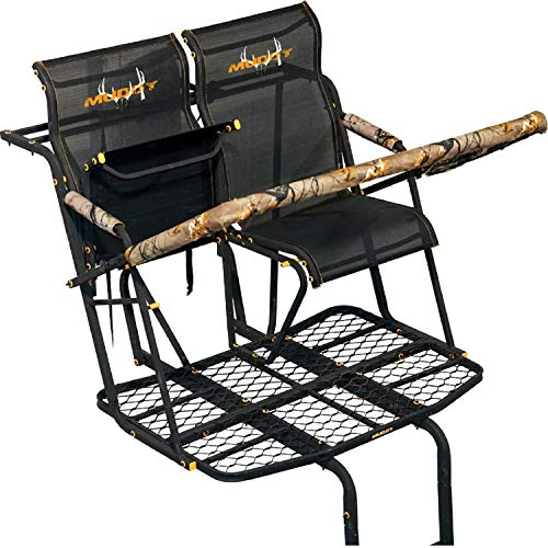 Muddy MLS2800 Rebel 2.5 Tree Stand 17' Ladder Stand, Lumbar Style 1.5 seat Design, Flex-Tek Seats flip up for Full Platform use.