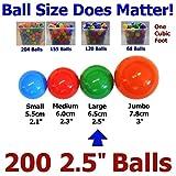 My Balls Pack of 100 pcs 2.5″ Phthalate Free PBA Free Crush Proof Plastic Ball Pit Balls – 5 Bright Colors in Storage Mesh Bag thumbnail