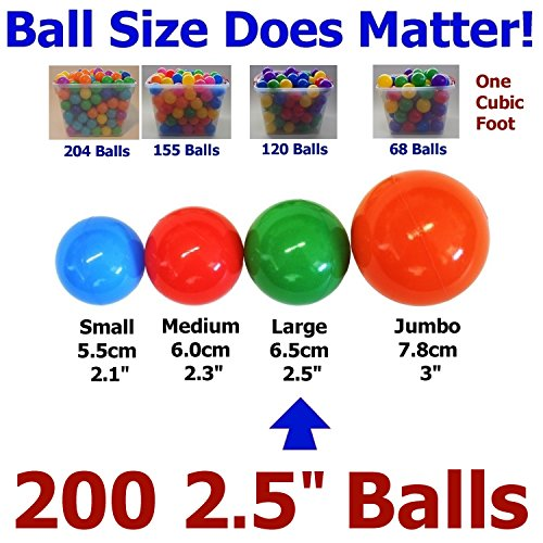 "My Balls Pack of 200 Large 2.5"" 65mm Ball Pit Balls in 5 Bright Colors - Crush-Proof Air-Filled; Phthalate Free; BPA Free; non-Toxic; non-PVC; non-Recycled Plastic (Pack of 200)"