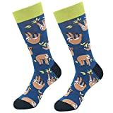 Men's Crazy Novelty Socks, KoolHour Cool Funny Animal Cartoon Sloth Patterned Cotton Long Tube Crew Dress Casual Socks,1 Pair