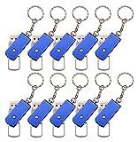 FEBNISCTE Bulk Pack of 10 Stainless Steel Rotate Metal 8GB USB Flash Pen Drive Keychain