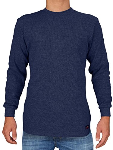 Men's Heavy Weight Waffle Pattern Thermal Shirt (Navy, X-Large) (Blue Shirt Thermal)