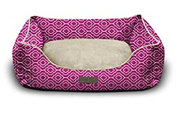 Pet Trendy Modern Chic Trellis Thick Bolstered-Microfiber Machine-Washable Pet Bed for Dog and Cat, 27-Inch x 35-Inch x 9-Inch, Pink