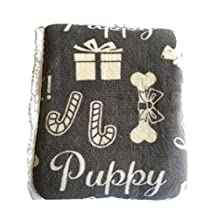 Humane Society Gray Plush Sherpa Fleece Throw Blanket with Puppy Dogs with Santa Hats, Bones, Holiday Theme