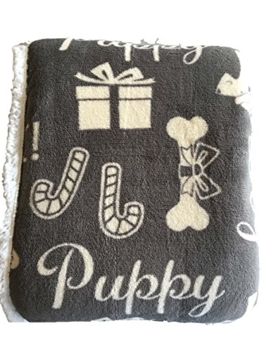 Santa Puppy (Humane Society Gray Plush Sherpa Fleece Throw Blanket with Puppy Dogs with Santa Hats, Bones, Holiday Theme)