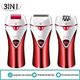 Epilator,Cordless Electric Hair Removal Epilator 3 in 1 Rechargeable Razors Bikini Trimmer Hair Removal Shaver for Facial Body Armpit Leg Foot Grinder Shaver Foot Care