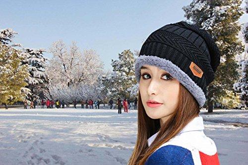 c65a89b5a HINDAWI Womens Slouchy Beanie Winter Hat Knit Warm Snow Ski Skull Cap  (Black)