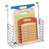 mDesign Over The Cabinet Hanging Storage Basket - Steel Bakeware Organiser and Cutting Board Holder - Excellent Kitchen Storage Solution - Chrome