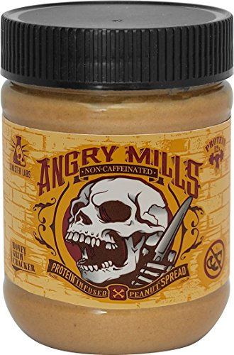 Angry Mills Whey Protein Isolate-infused PEANUT Spread by Sinister Labs - NON-CAFFEINATED - (12 oz jar) (Honey Grim Cracker, 1-pack)