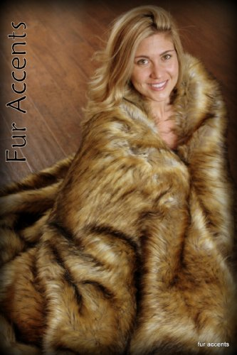 (Fur Accents Throw Blanket Coyote Faux Fur Face with Silky Soft