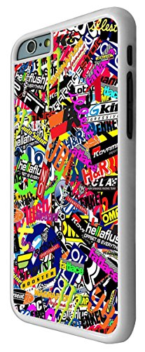 112 - StickerBomb Sticker Bomb Cars Cool Funky Design Design iphone 6 Plus / iphone 6 Plus 5.5'' Coque Fashion Trend Case Coque Protection Cover plastique et métal - Blanc