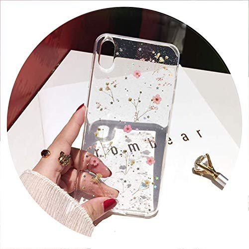 Real Flowers Dried Flowers Transparent Soft TPU Cover for iPhone X 6 6S 7 8 Plus Phone Case for iPhone XR XS Max Cover,1,for iPhone 7 ()