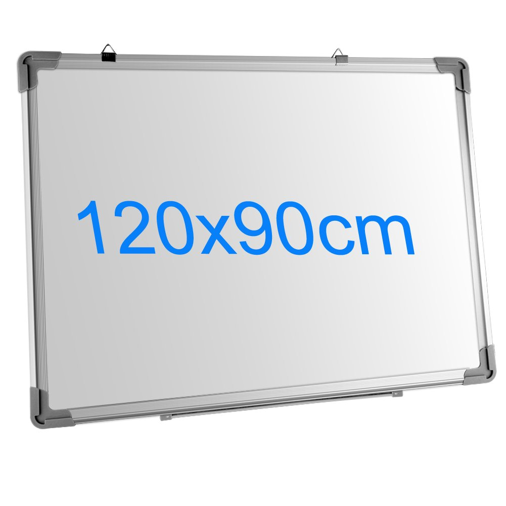 120cmx90cm SIENOC Mobile Whiteboard Magnetwand mit Alurahmen Magnetisch Whiteboard und Magnettafel Wei/ß lackiert