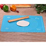 """Rolling Pin & Silicon Pastry Mat,Silicone Large Pastry Mat With 19.6"""" x 15.7"""",Dough Roller Sleek and Sturdy 11.8"""" Perfect Mat"""
