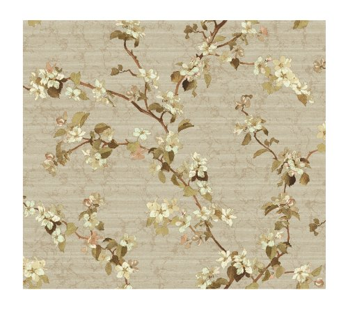 Wallpaper Blossom Apple - York Wallcoverings DC1302 Iridescent Apple Blossom Wallpaper, Light Khaki