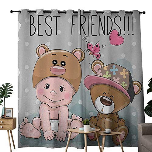 (NUOMANAN Window Curtains Butterfly,Cute Cartoon Baby in Bear Hat and Teddy Bear with Butterflies Best Friends Print,Multicolor,Tie Up Window Drapes Living Room 54