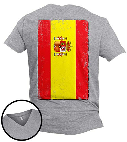 (Distressed Spain Flag - Spanish Latino Unisex V-Neck T-Shirt (Light Gray - Back Print, X-Large))