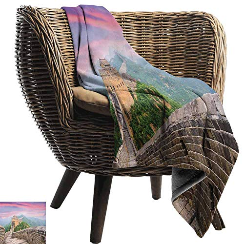 (Great Wall of China Flannel Throw Blanket,Fantasy Sky on Cultural Architecture Section Surrounded by Grassland Print Winter Luxury Plush Microfiber Fabric (80