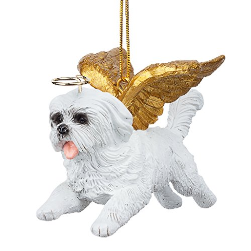 Christmas Tree Ornaments - Honor The Pooch Maltese Holiday Angel Dog - Ornament Angel Dog