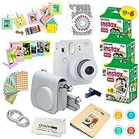 Fujifilm Instax Mini 9 Instant Camera SMOKEY WHITE w/Fujifilm Instax Mini 9 Instant Films (60 Pack) + A14 Pc Deluxe…