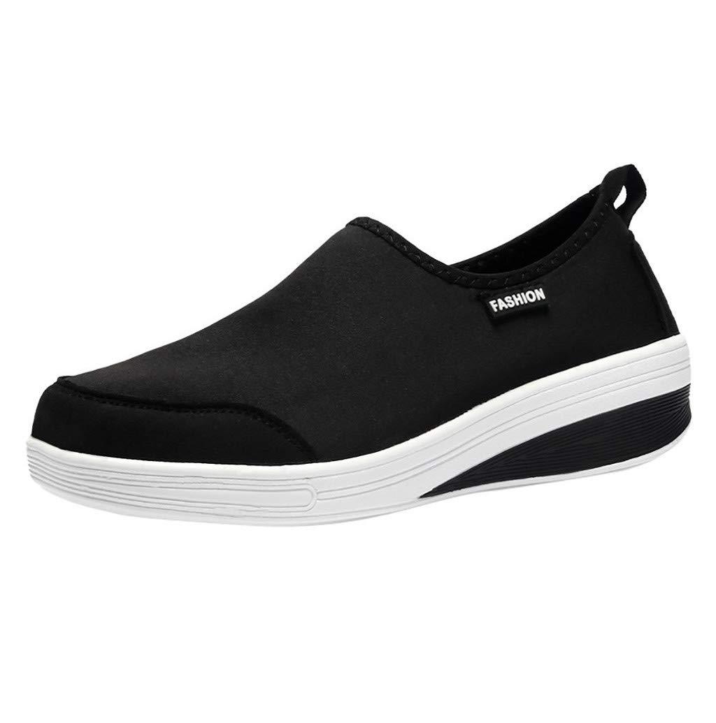 Women Sport Shoes,JHKUNO Spring & Autumn Indoor Outdoor Casual Walking Mesh Work Slip-on Sneakers Flat Loafer Black