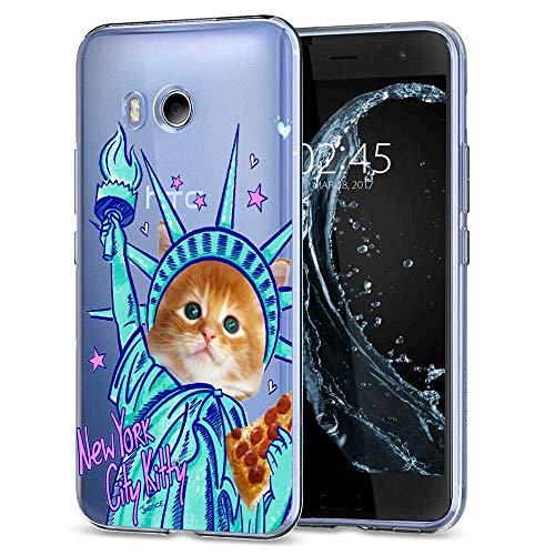 (HTC U11 Case, Soft TPU Slim-Fit Flexible Ultra-Thin Clear Case, Full-Body Rugged Bumper Print New York City Kitty Case for HTC U11,)