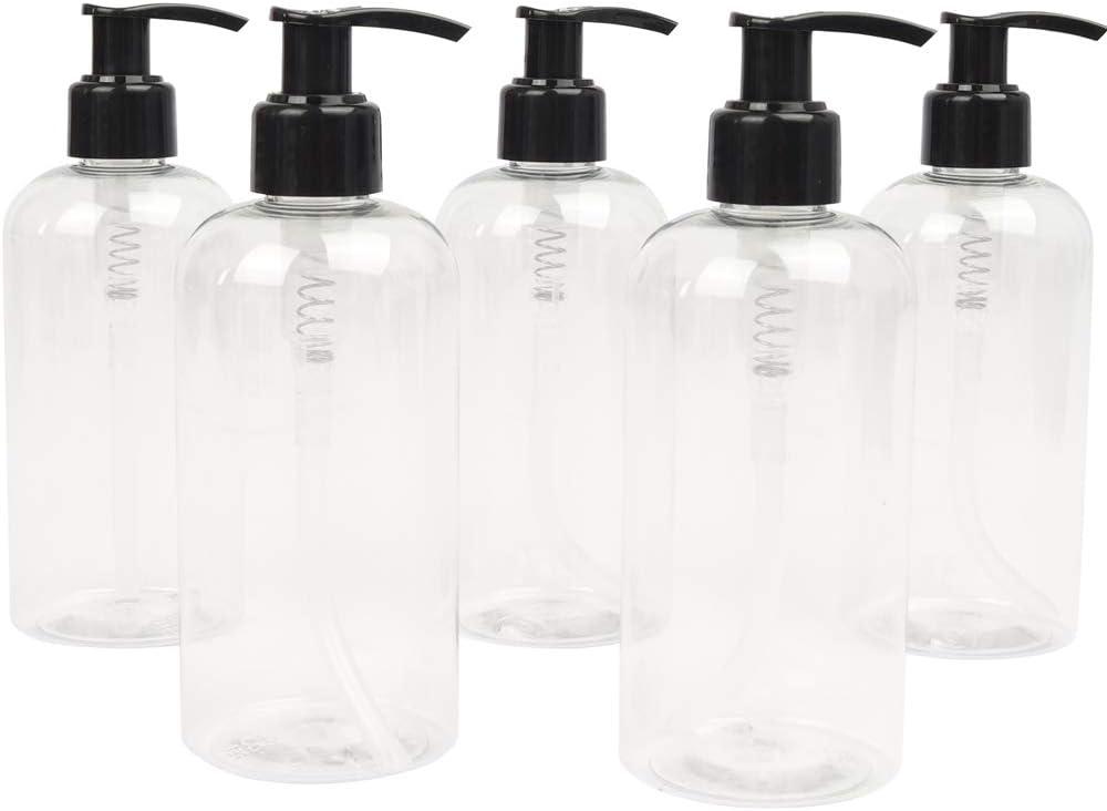 LUCEMILL - 5 Botellas de plástico vacías de 250 ml con dispensador de loción Negra - Reciclables