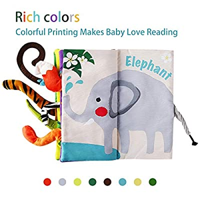 beiens Soft Baby Cloth Books, Touch and Feel Crinkle Books, for Babies, Infants & Toddler Early Development Interactive Toys, Baby Girl & Baby Boy Gift (Jungle Tails): Toys & Games