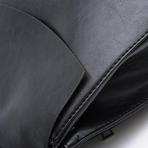 Saint-Acior Bolsa Mochila de PU de Gran Espacio Niñas Mochila Casuales Bolsos Femeninos Negro