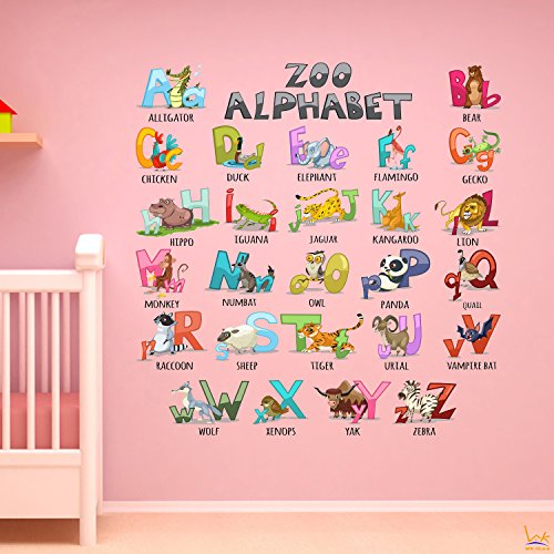 Alphabet Wall Decals Sticker - WK Home, 26 Animals Alphabet