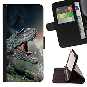 For HTC One Mini 2/ M8 MINI T-Rex Dinosaurs Prehistoric Ancient Style PU Leather Case Wallet Flip Stand Flap Closure Cover