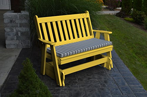 A & L Furniture 870-LY Lemon Yellow Poly Traditional English Glider Bench, Lemon Yellow