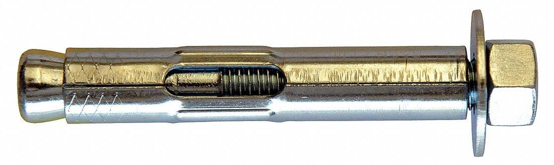 Hex Nut Sleeve Anchor, Steel, 3/8'' Dia., 3'' L, 5/16-18 Thread Size, Zinc Plated