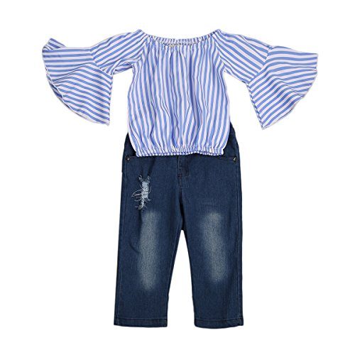 Toddler Little Girls Off Shoulder Blue White Striped Speaker Sleeves T-Shirt Tops+Hole Jeans Pants Baby Clothing Set, 1-7Y (1-2Y, (Speakers Tee)