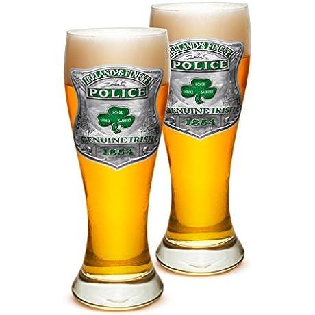 Pilsner Police Officer Gifts For Men Or Women Law Enforcement Beer Glassware Garda Irelands Finest Barware Glasses Set Of 24 23 Oz