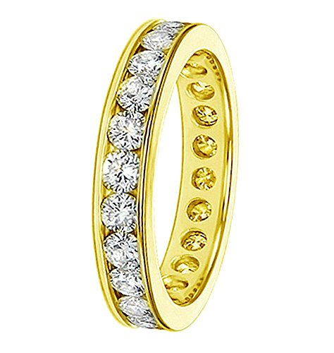 VIP Jewelry Art 18K Yellow Gold Round Diamond Eternity Anniversary Wedding Band in Channel Setting (1,65 2.25 CT TDW)
