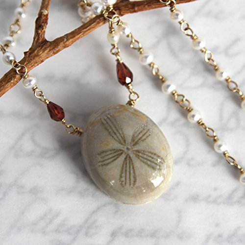 Fossil Urchin Necklace - Sea Urchin with Pearls and Garnets - Gold Filled