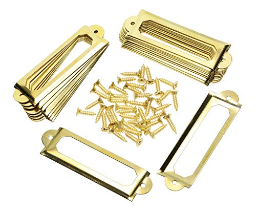 ONLYKXY 20Pcs Antique Brass Metal Drawer Door Lab Tag Label Pull Frame Handle File Name Card Holder for Furniture Cabinet Hardware Box Case Bin 1760mm (Gold)