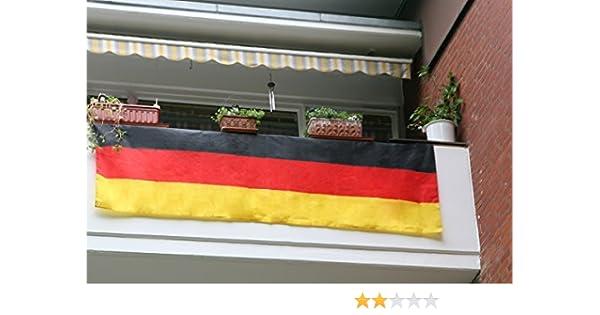 Balcón Bandera de Alemania 3 m fútbol EM WM Balcón Bandera Bandera para balcón (90 x 300 cm: Amazon.es: Deportes y aire libre