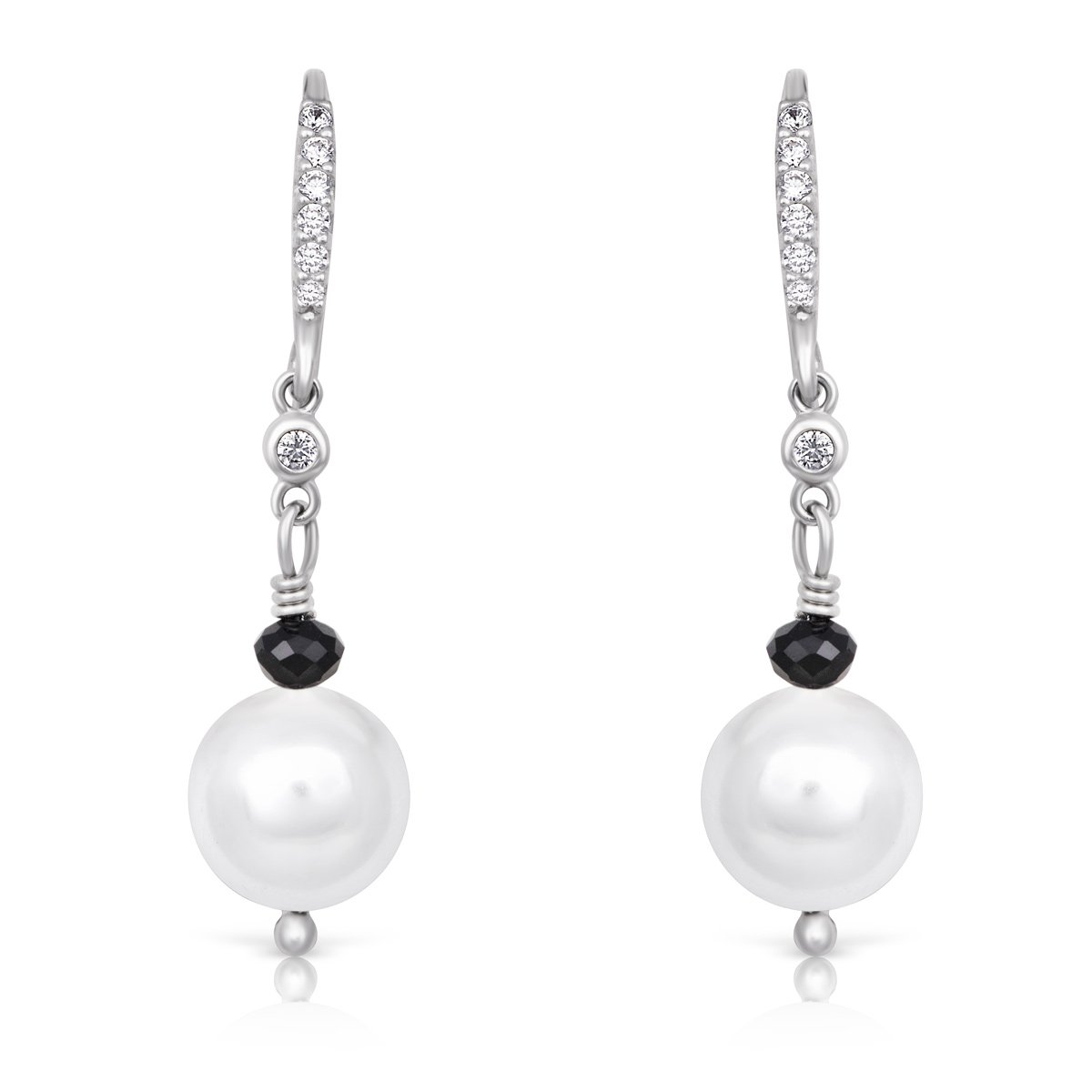 Sterling Silver /& Shell Pearl CZ Rhodium Plated Drop Dangle Earrings