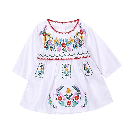 Newborn Toddler Baby Girls Ethnic Embroidery Floral Dress Long Sleeve Party Sundress Skirt (18-24Months, White)