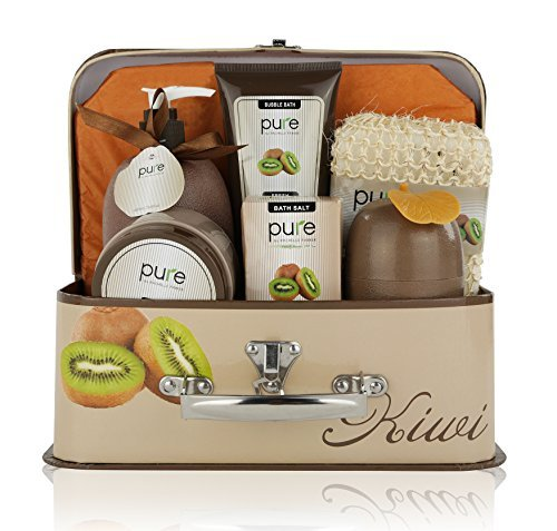 Essence of Luxury Spa Gift Basket Bath Set! PURE Spa Basket Natural Skin Care Gift Set Makes Best Mothers Day Gift for Women & Holiday Gift Baskets! (Kiwi) (Basket Care)